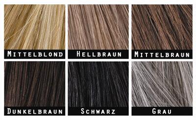 Die Toppik-Farbtöne: mittelblond, hellbraun, mittelbraun, dunkelbraun, schwarz, grau