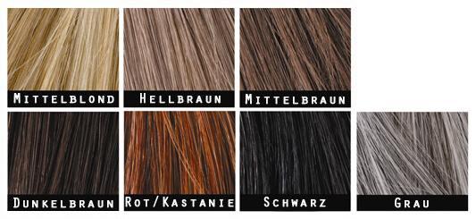 Die Toppik-Farbtöne: mittelblond, hellbraun, mittelbraun, dunkelbraun, rotbraun, schwarz, grau
