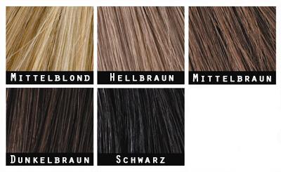 Die Toppik-Farbtöne: mittelblond, hellbraun, mittelbraun, dunkelbraun, schwarz
